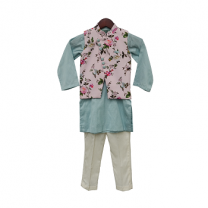 Fayon Kids Baby Pink Printed Kurti With Ice Blue Kurta & Pant