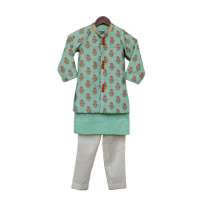 Fayon Kids Green Printed Jacket With Green Kurta & Churidar