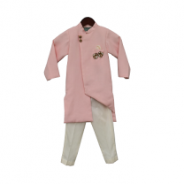 Fayon Kids Peach Linen Ajkan with Pant