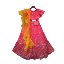 Fayon Kids Hot Pink Sequins Top With Lehenga