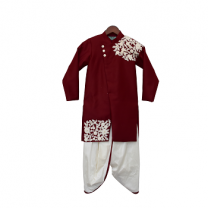Fayon Kids Maroon Embroidery Ajkan With Dhoti