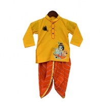 Fayon Kids Yellow Kurta With Orange Leheriya Dhoti