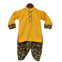Fayon Kids Yellow Kurta With Printed Dhoti