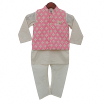 Fayon Kids Pink Embroidery Nehru Jacket With Kurta And Churidar