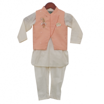 Fayon Kids Peach Nehru Jacket With Kurta & Churidar