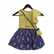 Fayon Kids Yellow Crop Top With Purple Skirt