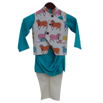 Fayon Kids Blue Kurta and White Churidar With Jacket