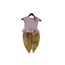 Fayon Kids Baby Pink Peplum Top With Yellow Printed Dhoti