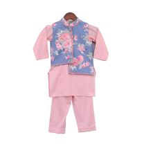 Fayon Kids Blue Printed Nehru Jacket Set