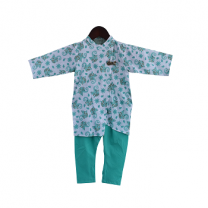 Fayon Kids Green Asymmetric Kurta and Churidar