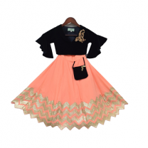 Fayon Kids Navy Blue Velvet Top And Peach Lehenga