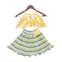 Fayon Kids Yellow Soft Sequins Top With Pleated Skirt