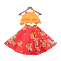 Fayon Kids Mustard Yellow Choli with Printed Lehenga