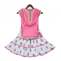 Fayon Kids Baby Pink Kurti With Printed Sharara