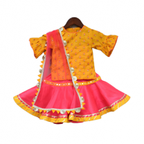 Fayon Kids Yellow Bottie Kurti With Sharara