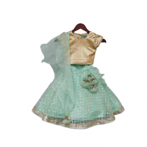 Fayon Kids Golden Choli with Aqua Green Gota Lehenga