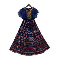 Fayon Kids Blue Embroidery Top With Embroidery Lehenga