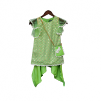 Fayon Kids Green Bottie Net Kurti With Dhoti