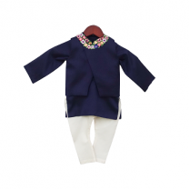 Fayon Kids Blue Embroidery Jacket with Kurta & Churidar