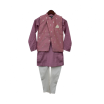 Fayon Kids Purple Foil Printed Nehru Jacket with Kurta & Churidar