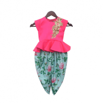 Fayon Kids Pink Peplum Top with Floral Dhoti
