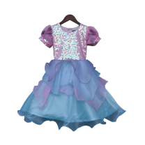 Fayon Kids Pink Sequence Yoke With Organza Frock
