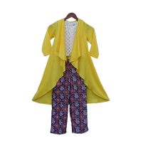 Fayon Kids Yellow Long Shrug with Patola Printed Pant