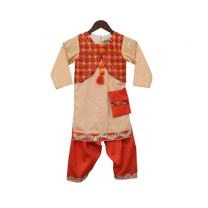 Fayon Kids Beige Kurti with attached Jacket and Salwar