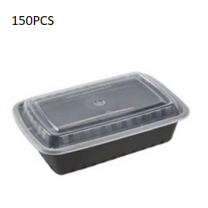 150PCS Micro Rectangular Black Container + Lid