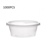 1000PCS (4Oz/100 Ml) Micro Round Clear Bowl + Lid