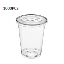 1000PCS  Clear Juice Cup + Flat Lid