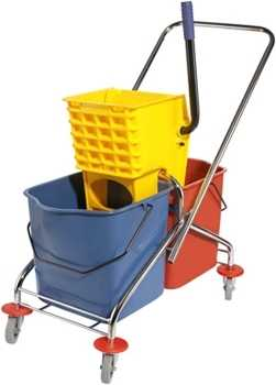 Double Mop Bucket Trolley With Wringer Set