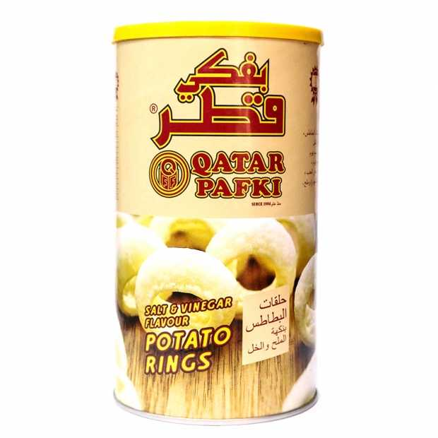 Qatar Pafki Potato Rings Salt & Vinegar Flavour 70GM X 6 Canister Per Bag