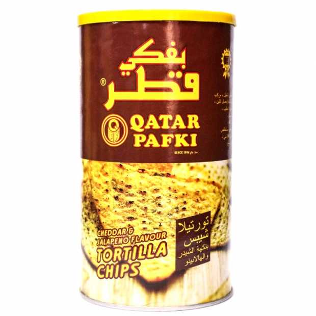 Qatar Pafki Tortilla Chips Cheddar & Jalapeno Flavour 125GM X 6 Canister